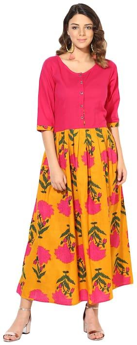 Myshka Women Yellow & Pink Cotton Printed Raglan Sleeve A-Line Kurti