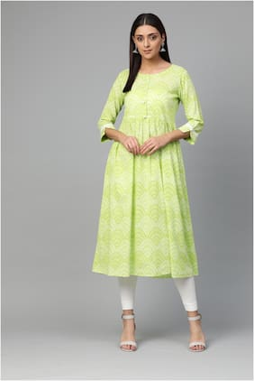 Myshka Women Cotton Printed Kurti Green