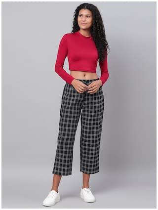 Myshka Women Cotton Checked Black Pant