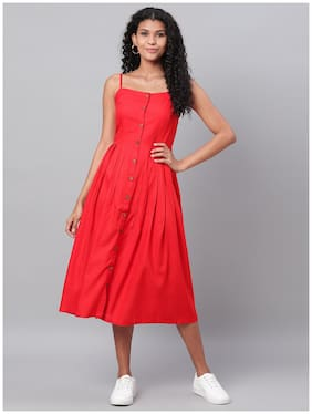 Myshka Women Cotton Solid Red A Line Dress