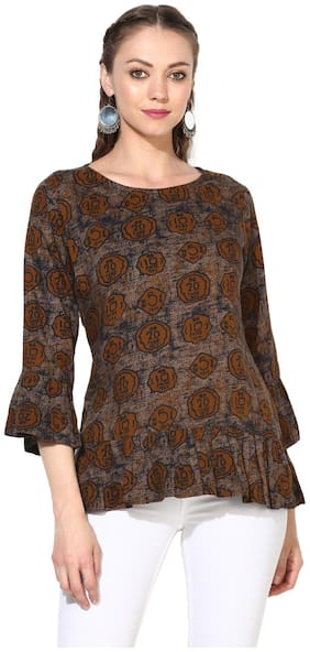 Myshka Women Viscose Abstract - Peplum Top Brown