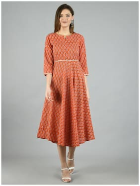 Myshka Brown Floral Fit & flare dress