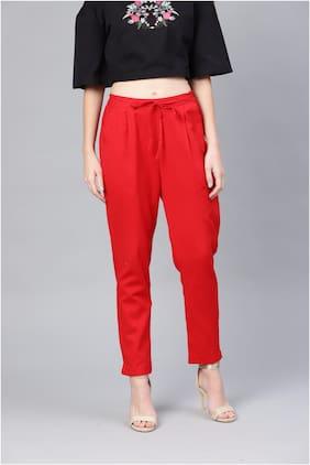 Myshka Women Red Slim fit Regular trousers