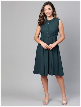 Myshka Green Solid Flared dress