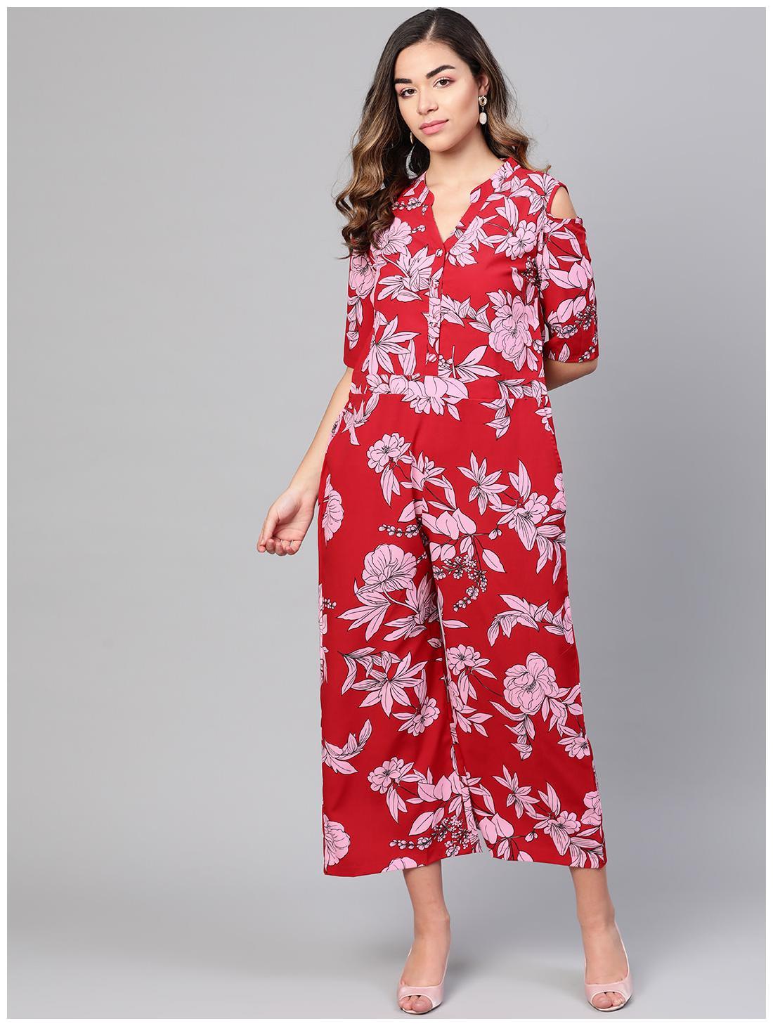 Myshka Floral Jumpsuit - Red