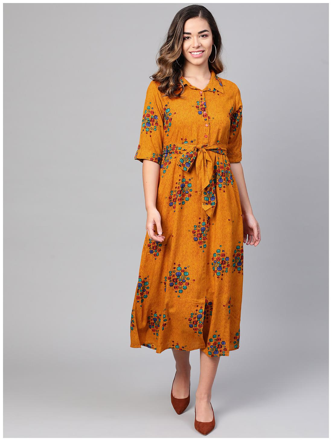 Myshka Yellow Floral Flared dress