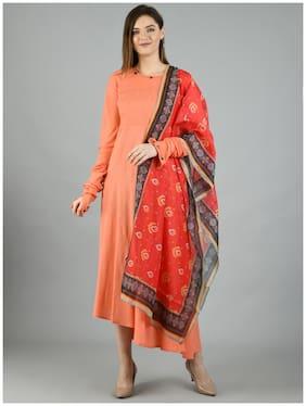 Myshka Peach Solid Fit & flare dress