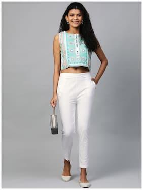 Myshka Women Viscose Rayon Solid White Pant