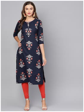 Myshka Women Blue Printed Straight Kurta