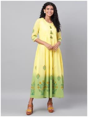 Myshka Women Cotton Floral 3/4th Sleeves A Line Dress (Yellow)