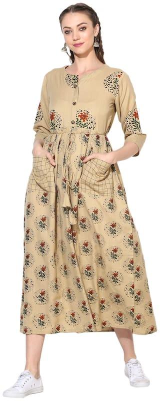 Myshka Beige Printed Maxi dress