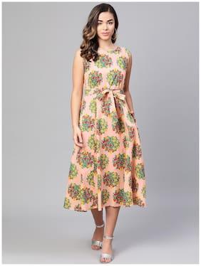 Myshka Peach Floral Flared dress