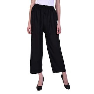 Women Myshka Black Straight Palazzos Solid pvqdzwv