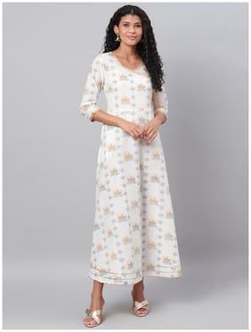 Myshka Women Cotton Floral 3/4th Sleeves A Line Dress (Multi)