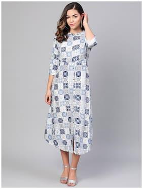 Myshka Blue Printed Flared dress