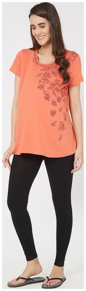 Mystere Paris Women Maternity Top - Orange S