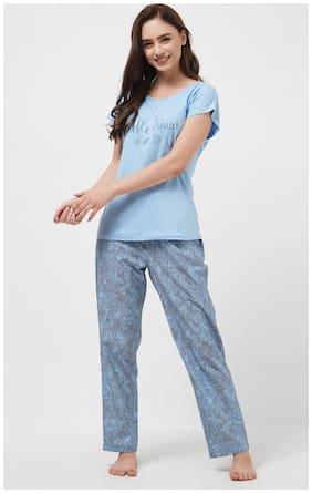Mystere Paris Women Cotton Floral Top and Pyjama Set - Blue