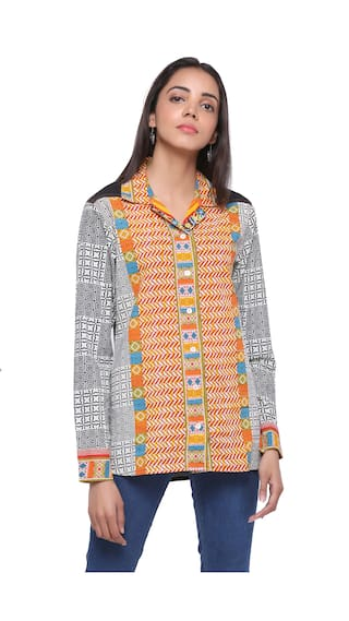 collar wear India printed office orange Mystique shirt qXfZwHXx
