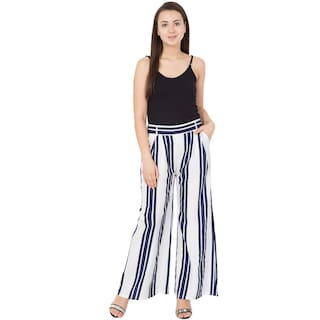 Palazzos Navy Striped White Fit and Regular Womens Blue Mythya t8qAgw0
