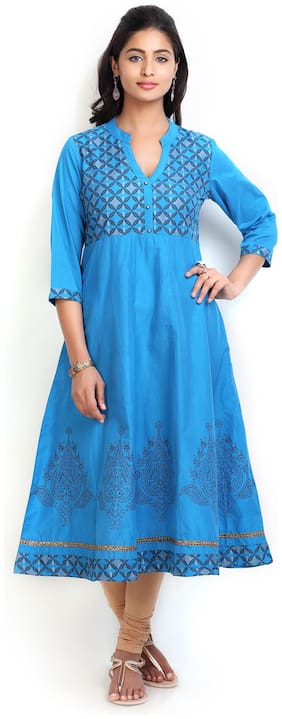 MYTRI Women Blue Printed Anarkali Kurta