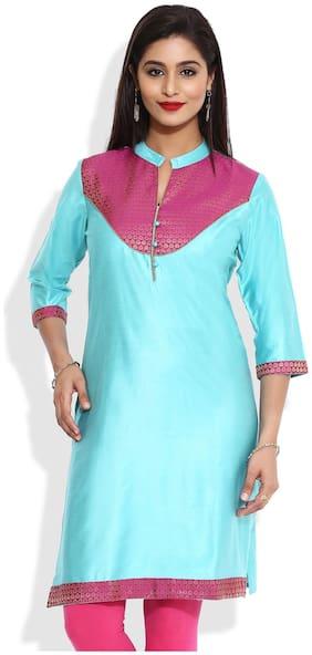 MYTRI Women Turquoise Printed Straight Kurta