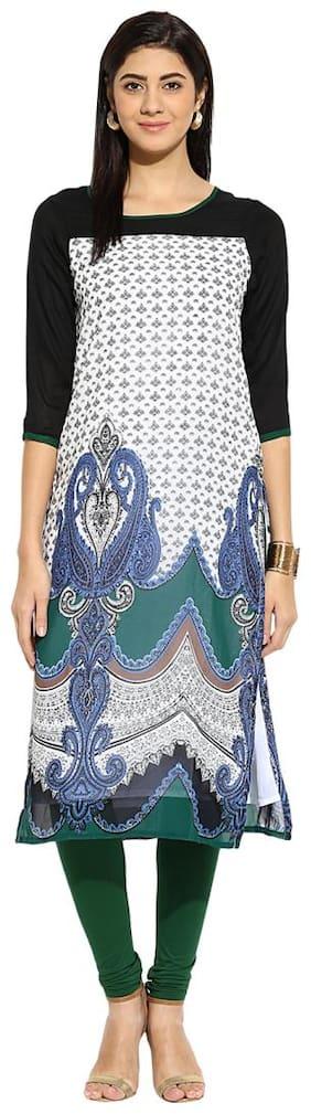 Mytri White & Black Printed Georgette 3/4th Sleeves   Kurta