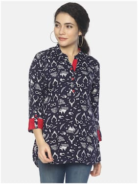 Mytri Women Rayon Printed Straight Kurti - Blue