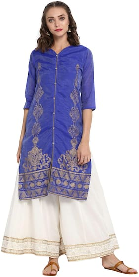 MYTRI Women Chanderi Solid Straight Kurta - Blue