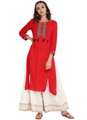MYTRI Women Viscose Embroidered Straight Kurta - Red