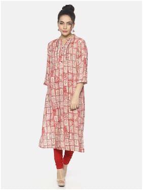 Mytri Women Rayon Abstract Straight Kurta - Pink