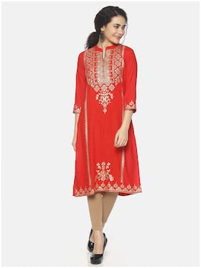 Mytri Women Rayon Ethnic motifs Straight Kurta - Red
