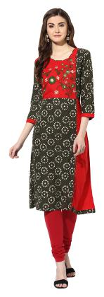 MYTRI Women Cotton Embroidered A Line Kurta - Green