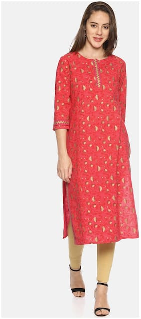 MYTRI Women Cotton Printed Straight Kurta - Pink