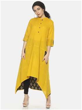Mytri Women Cotton Solid Anarkali Kurta - Yellow