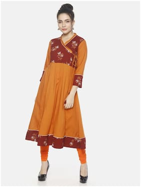 Mytri Women Rayon Floral Anarkali Kurta - Orange