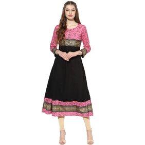 Mytri Women's Black & Pink Cambric Printed Anarkali Kurta