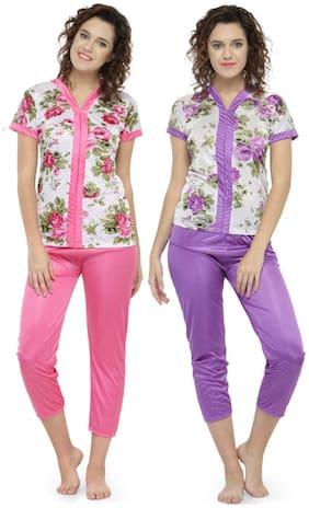 N-Gal Women Satin Floral Top and Pyjama Set - Multi
