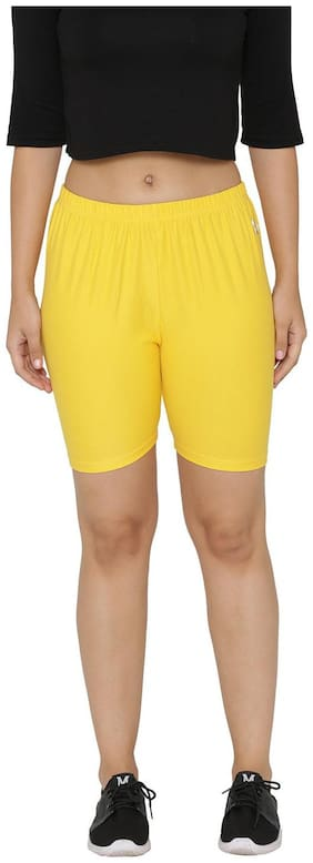 N-Gal Women Solid Sport shorts - Yellow