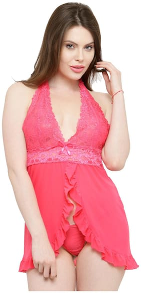 N-Gal Deep Neck Ruffle Baby Pink Lace Bridal Baby doll Dress Nightwear with G-String