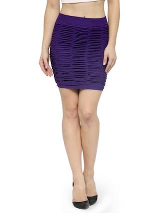 f6848f9fb28 Buy N-Gal Mid Waist Seamless Purple Self Design Short Mini Skirt ...