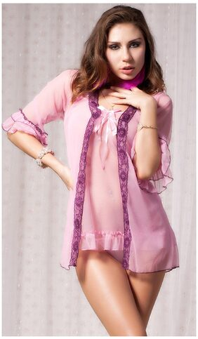 N-Gal Lace Up Pink Sheer Mesh Short Nighty Robe G-String 3 Pcs Combo Sets Nightwear