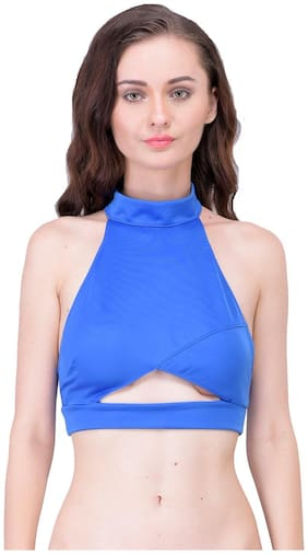 N-Gal Mock Neck Cut Out Front Virtical Strappy Back Sleeveless Blue Short Tee Clubwear Casual Crop Top