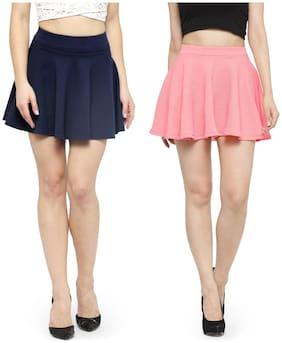 N-Gal Solid Flared skirt Mini Skirt - Blue & Pink