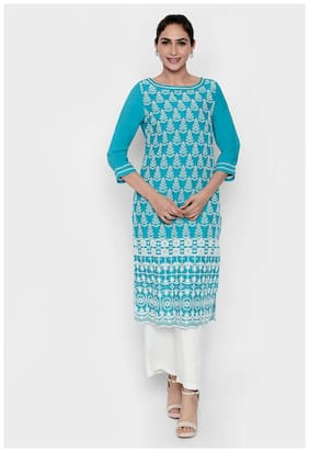NAARI Women Rayon Embroidered A line Kurti - Blue