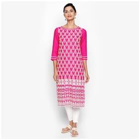 NAARI Women Rayon Embroidered A line Kurti - Pink