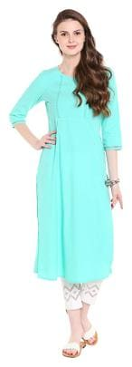 NAARI Women Rayon Solid Straight Kurta - Green