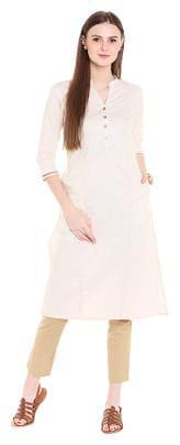 NAARI Women Rayon Solid Straight Kurta - Beige