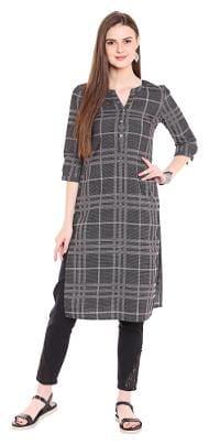 NAARI Women Rayon Printed Straight Kurta - Grey