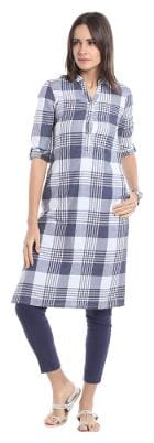 NAARI Women Rayon Striped Straight Kurta - Blue