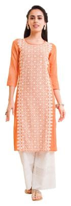 NAARI Women Orange Embroidered Straight Kurta